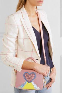 Sophie Hulme - Finsbury Appliquéd Leather Shoulder Bag - Pink - one size Juan Carlos Obando, Sophie Hulme, Glitter Hearts, Lightning Bolt, Leather Shoulder Bag, Camisole, Burgundy, Blazer, Yellow