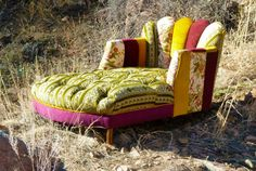 Vintage Patchwork Channel Tufted Chaise Lounge by vintagerenewal, $5500.00