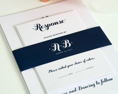 Navy Blue Wedding Invitation Suite - Whimsy and Script - Dark Blue Invitation for a Craft, Woodlands, Folk Wedding - Invite Sample Set