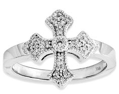 ApplesofGold.com - Fancy Diamond Cross Ring, 14K White Gold, $525