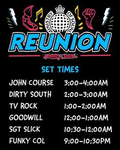 Set times for this Friday December 2019 Ministry of Sound Reunion Ministry Of Sound, December, Friday, Times, December Daily