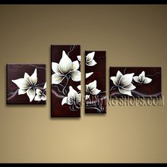 Stunning Contemporary Wall Art Oil Painting On Canvas Panels Gallery Stretched Tulip Flowers. This 4 panels canvas wall art is hand painted by Anmi.Z, instock - $135. To see more, visit OilPaintingShops.com