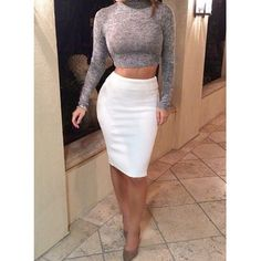 Sexy Turtle Neck Long Sleeve Crop Top + Solid Color Knitted Skirt Women's Twinset