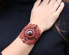 Original orange macrame bracelet with Caoba obsidian gemstone and balck onix gemstone beads