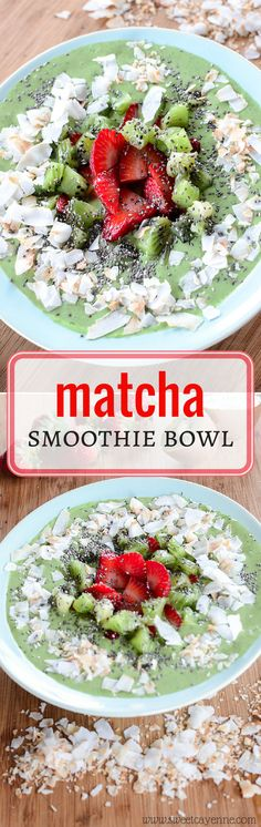 This smoothie bowl boasts an antioxidant punch with the addition of matcha green tea powder - great for breakfast or a post-workout snack!