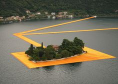 Three kilometres of saffron-coloured pathways temporarily connect the shore of Italy's Lake Iseo to islands at its centre in this installation.