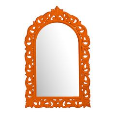 Open scrollwork wall mirror in orange.  Product: Wall mirrorConstruction Material: Resin and mirrored glass - spray paint one of my mirrors or several like this perhaps for the bedroom or the bathroom