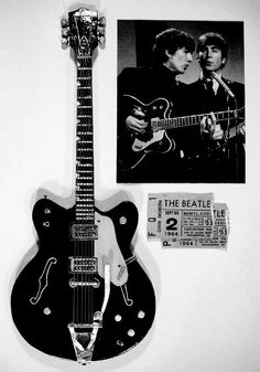 Gretsch Country Gentleman the guitar that George Harrison played on the Ed Sullivan Show Guitar Art, Guitar Songs, Cool Guitar, Guitar Painting, Guitar Pics, Gibson Les Paul, Rick E, Famous Guitars, Beautiful Guitars