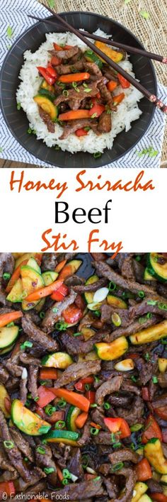 Tender beef is stir-fried with a delicious sweet and spicy sauce for a quick and tasty dinner! Toss in your favorite veggies and serve this honey sriracha beef stir fry over rice or cauliflower rice.