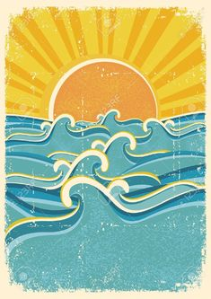 Sea Waves And Yellow Sun On Old Paper Texture.Vintage Illustration ...