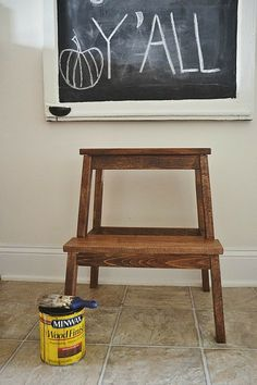 Wood finish in matching paint;dipped in gold Bekvam Stool, Ikea Bekvam, Ikea Step Stool, Stool Makeover, Paint Dipping, Wooden Steps, Diy Home Accessories, Paint Matching, Favorite Paint Colors