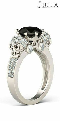 Gothic Jewelry Rings Jeulia Two Skull Round Cut Created Black Diamond Skull Ring - Buy Crown Round Cut Sterling Silver Skull Ring online. Jeulia offers premium quality jewelry at affordable price, shop now! Skull Wedding Ring, Silver Skull Ring, Diamond Wedding Rings, Skull Rings, Silver Rings, Gold Ring, Skull Jewelry, Gothic Jewelry, Diamond Jewelry