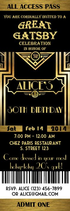 Great Gatsby Party | Great Gatsby Style Art Deco Birthday Party Invitation