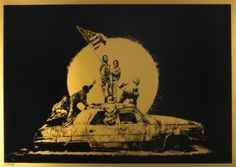 Banksy - Gold Flag