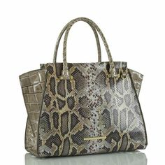 The Priscilla Satchel is a chic style with a geometric edge. Make a style statement while carrying your every essential. Leather Bag Design, Brahmin Handbags, Cute Handbags, Best Bags, Christian Louboutin Shoes, Snake Print, Accessories Shop, Smooth Leather, Purses And Bags