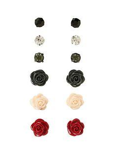 LOVEsick Stone Rose Earring 6 Pair   Hot Topic $8.50