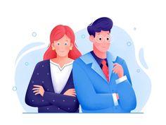 Business by Uran Arts on Dribbble Flat Design Illustration, Funny Illustration, Character Illustration, Map Illustrations, Presentation Pictures, Digital Art Beginner, Ios Design, Dashboard Design, Retro Logos