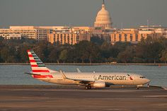 An American Airlines plane at Reagan National Airport in Washington, D.C.