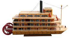 "Delta Queen ""Prison art""Match stick boat"