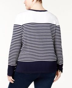 Karen Scott Plus Size Striped Cardigan, Created for Macy's - Blue 2X