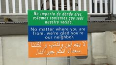 "A church in Harrisonburg, Va., posted a simple message last year: ""No matter where you are from, we're glad you're our neighbor,"" in three languages. Now the signs show up from D.C. to Detroit."