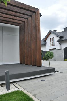 Villa, Pergola Designs, Fence Design, Facade House, Aperture, Garage Doors, Deck, Backyard, Outdoor Decor