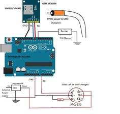 LPG Leakage SMS Alert Circuit using Arduino and MQ-135