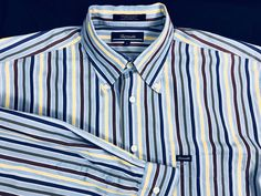 Faconnable Men's Green Blue Yellow Stripe Cotton Casual Shirt Large Button Down #Faonnable #ButtonFront #menswear #weartowork #mensfashion #shirts #striped