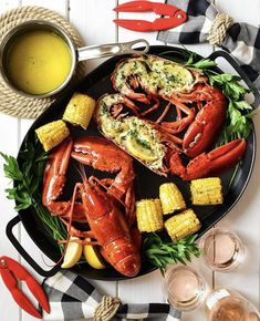 Lobster dinner! 🦞🦞  Fresh East Coast lobsters smothered in butter & fresh herbs from the garden! 🧈🌿 A cold bottle of rosé, corn 🌽, potatoes 🥔 and this summertime feast was complete! 🥂 Hope you all had a delicious day! Lobster Dinner, Lobsters, Fresh Herbs, Paella, East Coast, Seafood, Summertime, Butter, Potatoes