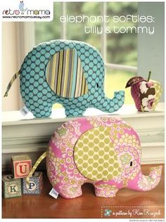 Retro Mama elephant softies pattern. Pinned for BabyBump, the #1 mobile pregnancy tracker with the built-in community for support and sharing.