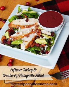 Leftover Turkey and Cranberry Vinaigrette Salad by www.myrecipeconfessions.com on www.cookingwithruthie.com