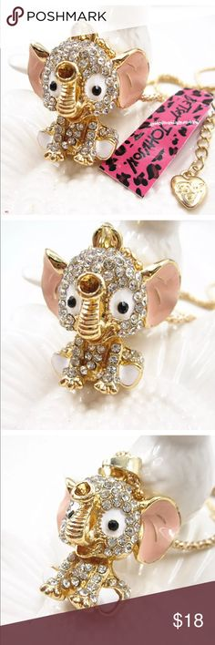 "Betsey Johnson Crystal elephant necklace NEW New with tags. 28"" chain. Next day shipping Betsey Johnson Jewelry Necklaces"