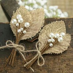 Rustic Burlap Leaf and Pearl Berry Boutonnieres - Corsage + Boutonniere Supplies - Floral Supplies - Craft Supplies Burlap Lace, Burlap Flowers, Diy Flowers, Fabric Flowers, Burlap Wreath, Paper Flowers, Burlap Corsage, Lace Ribbon, Summer Flowers