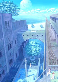 grafika blue, anime scenery, and water                                                                                                                                                                                 More