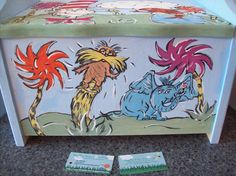 Dr. Seuss character themed toy box...I hand painted and designed! http://www.facebook.com/buggybeandesigns