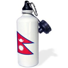 3dRose Flag of Nepal - Nepalese rhododendron red white blue - sun crescent moon - South Asia world country, Sports Water Bottle, 21oz
