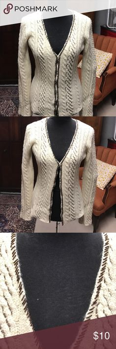 To The Max Sweater Beautiful off white cardigan with beaded trim can be worn open or closed To The Max Sweaters Cardigans