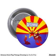 Arizona State Flag Vintage Drawing Button