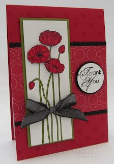 Stampin' Up! ... handmade thank you card from Stamping Moments: Pleasant Poppies ... luv the deep red base and wide band ...  red poppies on a tall and thin panel with deep slate bow wrap ... awesome card!