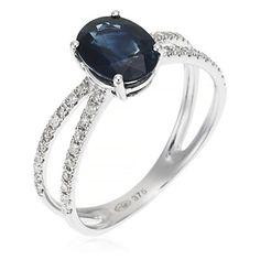 "Bague ""Sapphir Royale"" or blanc 1.68g, diamants 0.15ct et saphir bleu 1.16ct"