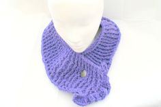 Purple Neckwarmer Cabled Scarf Button Scarf Neck by lanacooper,