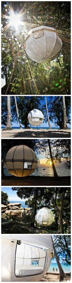 A creative tent design.  Cocoon tree tents...