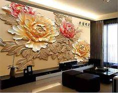 Wallpaper Bedroom Roll Modern Luxury Embossed Mural peony flower Background -… – Best of Wallpapers for Andriod and ios 3d Wall Art, Mural Art, Wall Murals, Plaster Art, Plaster Walls, Wall Art Designs, Wall Design, Flower Backgrounds, Diy Interior