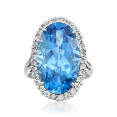 14.00 Carat Blue Topaz and .95 ct. t.w. White Topaz Ring in Sterling Silver | #767995 @ ross-simons.com