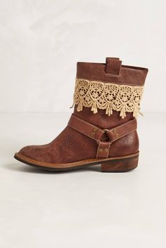 Zephyr Moto Boots in Cognac and Ivory (Or add some lace trim to your own boots)