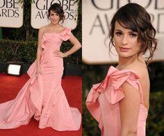 Lea Michele  in Oscar de la Renta (2011 Golden Globes)