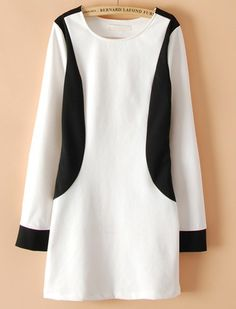 White Contrast Black Long Sleeve Straight Dress EUR€18.89