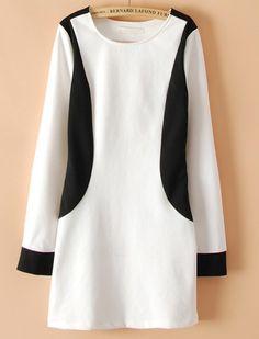 White Contrast Black Long Sleeve Straight Dress EUR€18.89