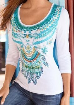 White Flowers Pattern Scoop Neck National Polyester T-Shirt