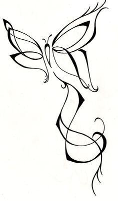 Feminine Butterfly Original Tattoo Design by silverwingstattoos